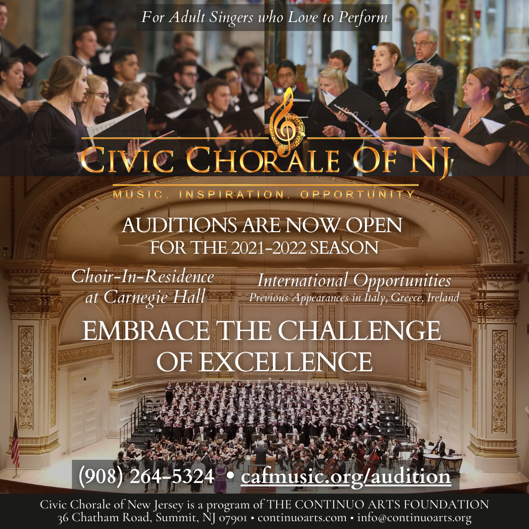Audition For the Civic Chorale of NJ's 2021-2022 Season Today!